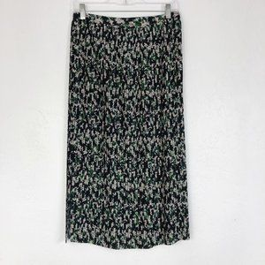 & Other Stories Green Floral Pleated Midi Skirt